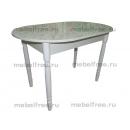 Кухонный стол овальный раздвижной белый мрамор