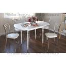 Кухонный стол овальный раздвижной белые цветы