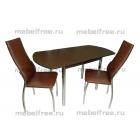 Кухонный стол овальный раздвижной коричневый