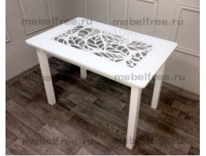 Стол кухонный стеклянный ажурный белый