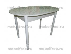 Стол кухонный раздвижной белый мрамор