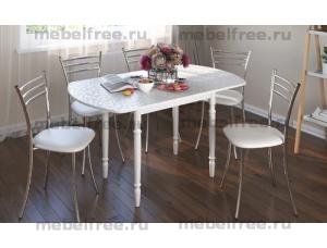 Стол кухонный раздвижной белые цветы