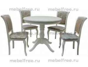 Купить кухонный стол круглый раздвижной  массив белый