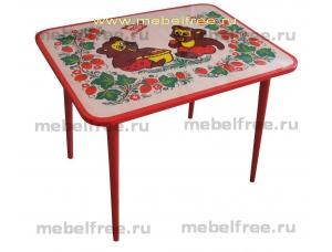 Купить стол детский из массива с хохломой